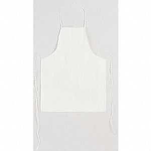 "Disposable Bib Apron, White, 36"" Length, Microporous Fabric Material, EA,  1"