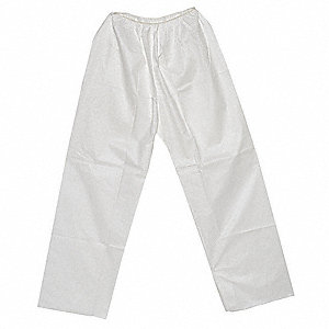 Disposable Pants, 3XL, White, Microporous Fabric Material, EA 1