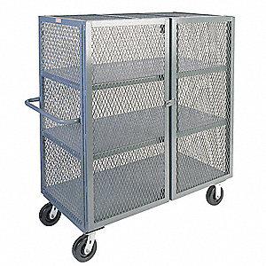 Mesh Security Truck, 3000 lb. Load Capacity, (2) Swivel, (2) Rigid Caster Type