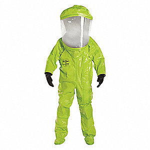 Level A Front-Entry Encapsulated Suit, Lime Yellow, 4XL, Tychem® 10000 Material
