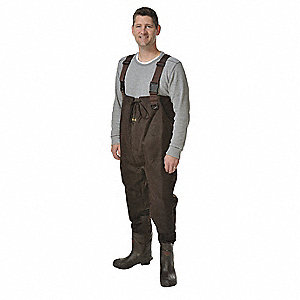 Men's Plain Toe, Nylon, Rubber, Thinsulate Chest Waders, Dark Brown, Sz 10