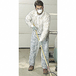 Collared Disposable Coveralls with Elastic Cuff, White, 2XL, Polypropylene