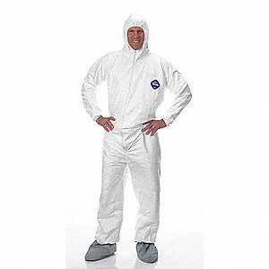 Hooded Disposable Coveralls with Elastic Cuff, White, M, Tyvek®