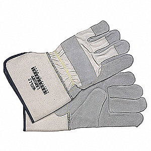 Cowhide Leather Palm Gloves with Gauntlet Cuff, Gray, L