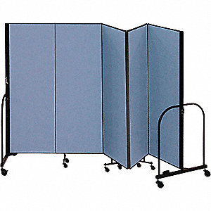 9 ft. 5 in. x 5 ft., 5-Panel Portable Room Divider, Blue
