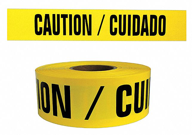 Barricade Tape, Yellow, 3 in x 1,000 ft, Caution/Cuidado