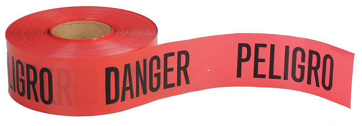 Barricade Tape, Red, 3 in x 1,000 ft, Danger Peligro