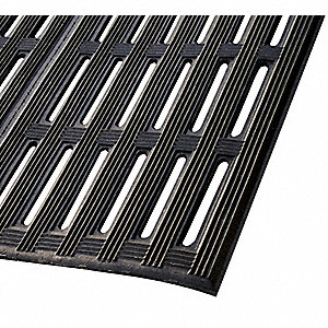 Drainage Runner, Black, 22 ft. x 2 ft., Recycled Rubber/Nitrile Blend, 1 EA