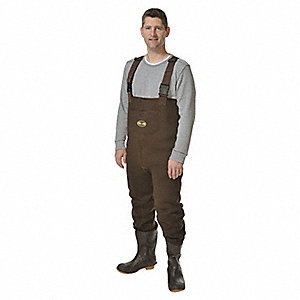 Men's Plain Toe, Neoprene Chest Waders, Dark Brown, Sz 14