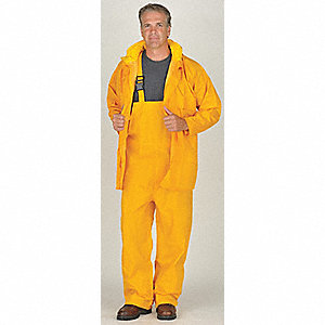 "Men's Yellow 150D Rip-Stop Polyester 3-Piece Rainsuit with Hood, Size: XL, Fits Chest Size: 48"" to 5"
