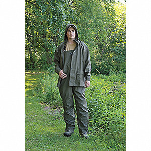 "Men's Green Polyurethane Rain Jacket with Hood, Size L, Fits Chest Size 42"" to 44"""