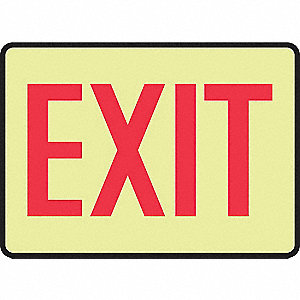 Exit Sign,7 x 10In,R/YEL,Self-ADH,Exit