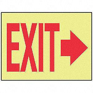 Exit Sign,10 x 14In,R/YEL,Self-ADH,Exit