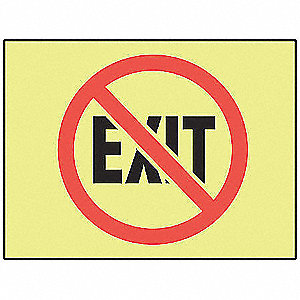 Exit Sign,10 x 14In,R and BK/Glow,Exit
