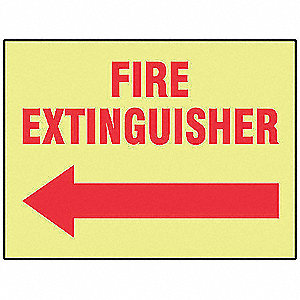 Fire Extinguisher Sign,7 x 10In,R/YEL