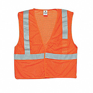 High Visibility Vest,Class 2,L,Orange