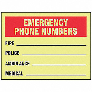 "Emergency Information Sign,10"" x 14"""