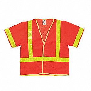 Orange/Red with Silver Stripe Traffic Vest, ANSI 3, Hook-and-Loop Closure, L