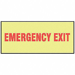 "Exit Sign, Emergency Exit, 3-1/2""x10"""