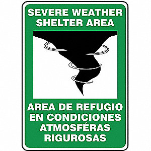 Emergency Sign,14x10in,BK,GRN/WHT