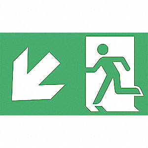 "Directional Exit Sign,8"" x 4-1/2"",Alum"