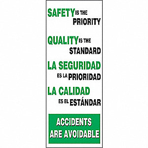 "Safety Banner, Bilingual, 74"" x 28"", 1 EA"