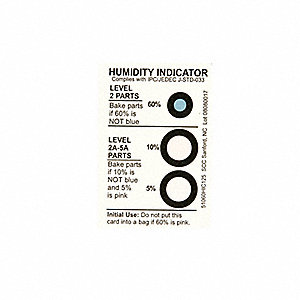 Humidity Indicator,3 x 2 In. Card,PK125