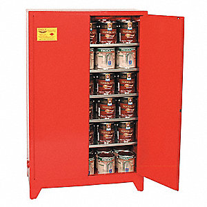 "31-1/4"" x 31-1/4"" x 69"" Galvanized Steel Paint and Ink Safety Cabinet with Manual Doors, Red"