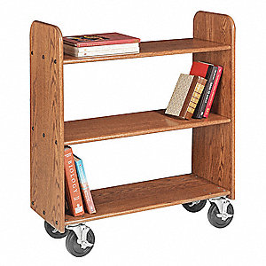 Wood Book Truck with 3 Flat Oak Shelves, Rich Honey Oak