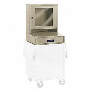 "24"" x 9"" x 19-1/4"" Steel Mobile Monitor Cabinet, Putty"