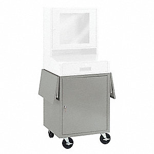 "24-1/2"" x 22-1/2"" x 26"" Steel Mobile Computer Cabinet Base, Light Gray"