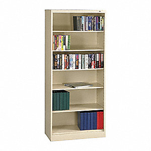 "36"" x 18"" x 84"" Bookcase with 6 Shelves, Champagne/Putty"