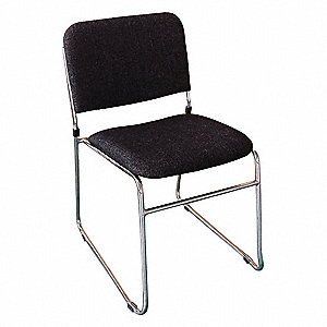 Chrome Steel Stacking Chair with Charcoal Seat Color, 1EA