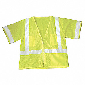 Yellow/Green with Silver Stripe Traffic Vest, ANSI 3, Zipper Closure, L