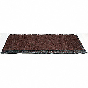 Brown Rubber Mulch Roll, Recycled Rubber, 2'W x 6'L, Thickness 1/2""