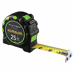 25 ft. Stainless Steel SAE Magnetic Tip Tape Measure, Black