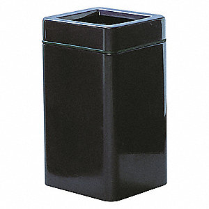 20 gal. Square Black Open-Top Trash Can