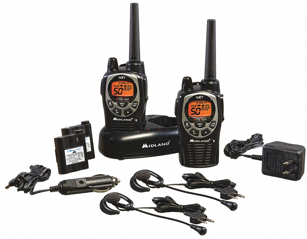 Handheld Portable Two Way Radio,  MIDLAND RADIO GXT1000/1050,  50,  FRS/GMRS,  Digital,  Backlit LCD
