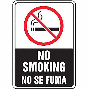 "No Smoking, No Header, Plastic, 10"" x 7"", With Mounting Holes, Not Retroreflective"