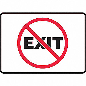 "Exit Sign,10"" x 14"",Plastic"
