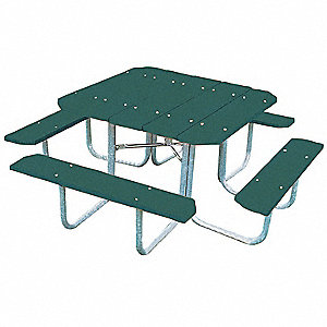 "76""D x 76""W Square Steel Picnic Table, Green"