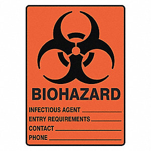 "Biohazard, No Header, Vinyl, 14"" x 10"", Not Retroreflective"