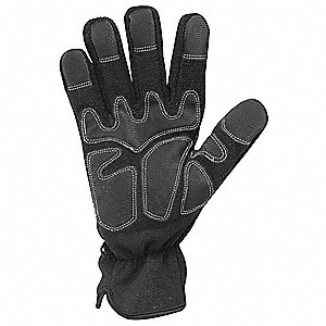 Cold Protection Gloves, Unlined Lining, Extended Cuff, Black, M, PR 1