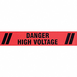 "Safety Warning Tape, Message, Continuous Roll, 3"" Width, 1 EA"