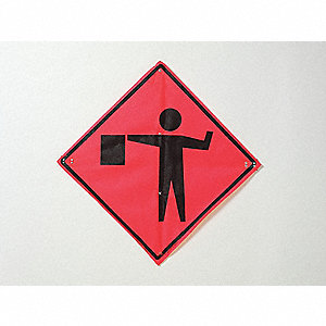 Traffic Sign,36 x 36In,BK/R-ORN FLUOR