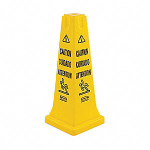 Safety Cone, Caution, Eng/Sp/Fr