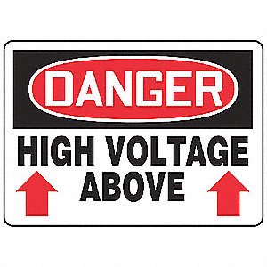 "Electrical Hazard, Danger, Plastic, 10"" x 14"", With Mounting Holes, Not Retroreflective"
