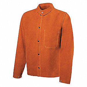 "Brown Cowhide Welding Jacket, Size: M, 30"" Length"