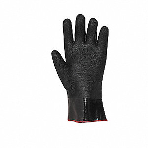 Neoprene Chemical Resistant Gloves, Cotton Lining, Size L, Black, PR 1