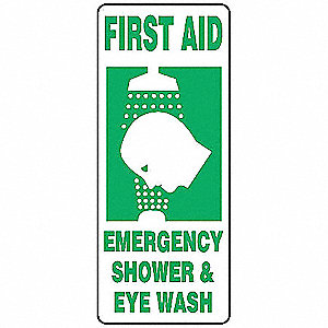 First Aid Sign,17 x 7In,GRN/WHT,PLSTC
